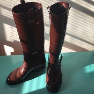 "Ralph Lauren brown ""riding"" style rain boots"